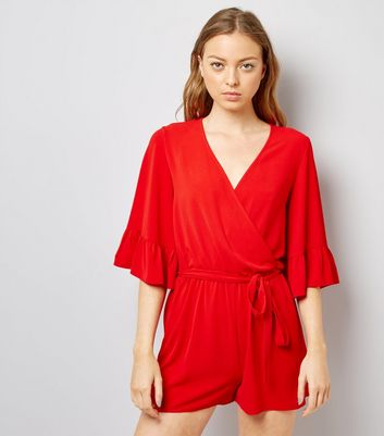 Red Bell Sleeve Wrap Front Playsuit