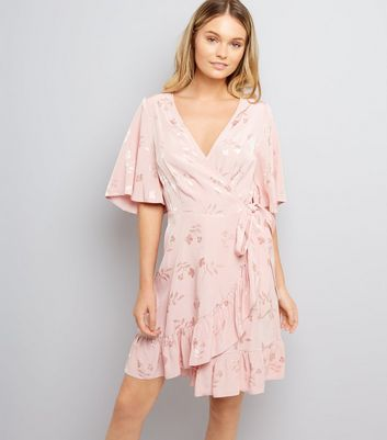 Pink Floral Jacquard Wrap Front Dress