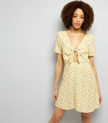 Yellow Ditsy Floral Print Tie Front Skater Dress