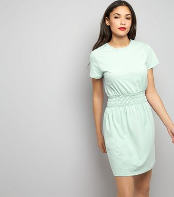 Mint Green Shirred Waist T-Shirt Dress