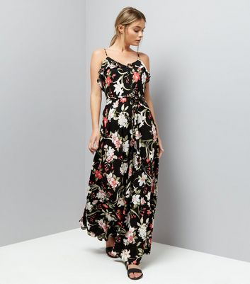 Black Floral Print Frill Trim Maxi Dress