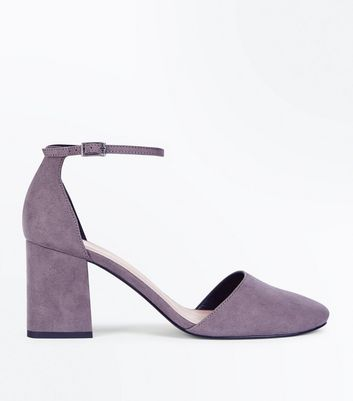 Wide Fit Grey Suedette Round Toe Court Shoes