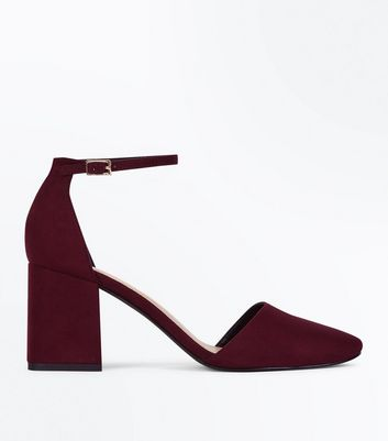 Wide Fit Burgundy Suedette Round Toe Court Shoes
