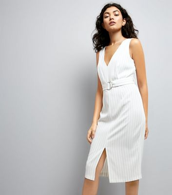 White Pinstripe D Ring Strap Pencil Dress