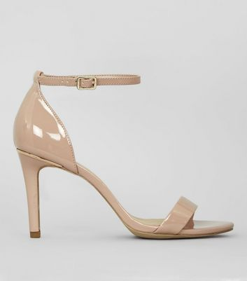 Wide Fit Nude Pink Patent Metal Trim Heels