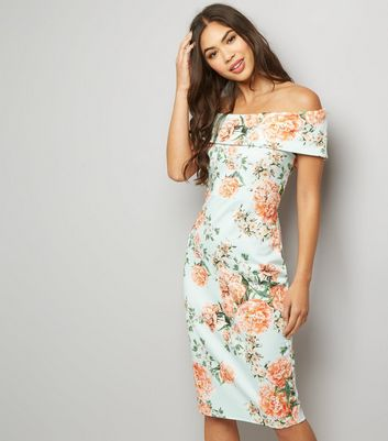 Mint Green Floral Print Bardot Neck Dress