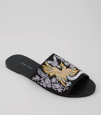 Wide Fit Black Bird Embroidered Mules