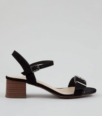 Wide Fit Black Comfort Suedette Buckle Front Heeled Sandals