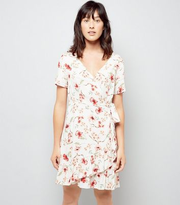 White Chintz Floral Print Frill Wrap Dress