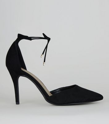 Black Suedette Pointed Toe Ankle Tie Heels,
