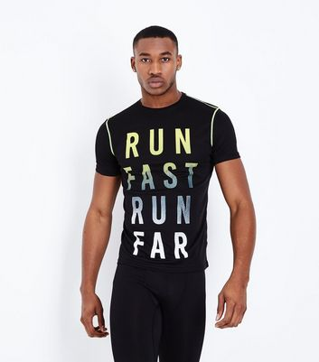 Black Run Fast Run Far Sports T-Shirt
