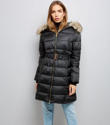Black Belted Longline Puffer Jacket