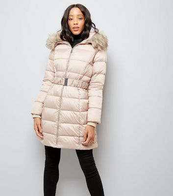 Shell Pink Belted Longline Puffer Jacket