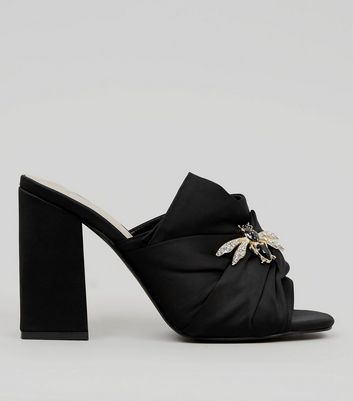 Wide Fit Black Bumble Bee Embellished Block Heel Mules