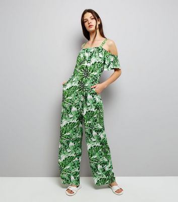 Blue Vanilla Green Tropical Print Jumpsuit