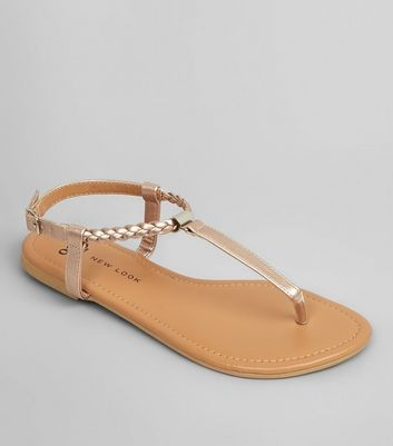 Teens Rose Gold Plait Strap Sandals