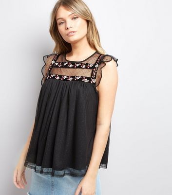 Black Polkadot Floral Embroidered Smock Top