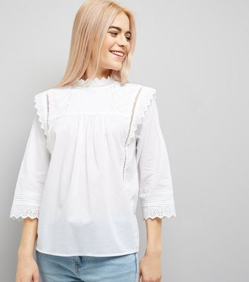 White Cut Out Embroidered High Neck Top