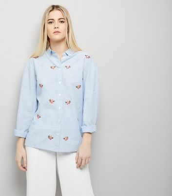 Blue Floral Embroidered Shirt
