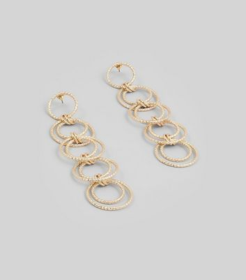 Gold Textured Link Ring Drop Earrings