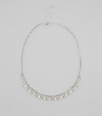Silver Crystal and Pearl Necklace