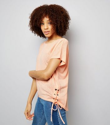 Coral Eyelet Lace Up Side T-Shirt