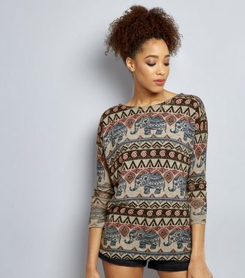 Mela Pale Grey Aztec Print Jumper