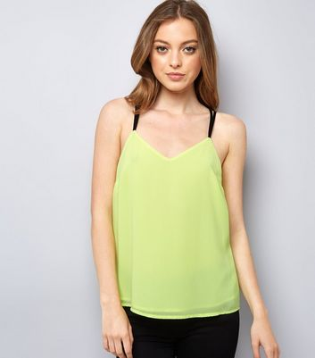 Neon Green Lace Back Cami Top