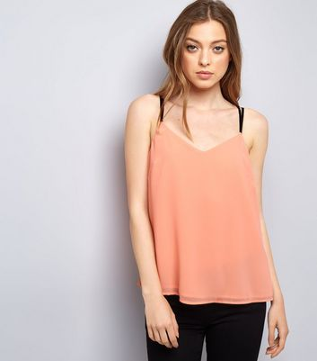 Orange Lace Back Cami Top