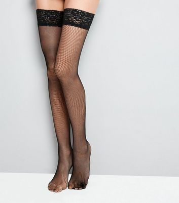 Black Fishnet Lace Trim Hold Up Stockings