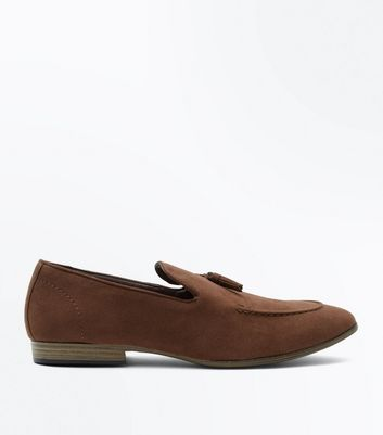 Brown Suedette Tassel Loafers