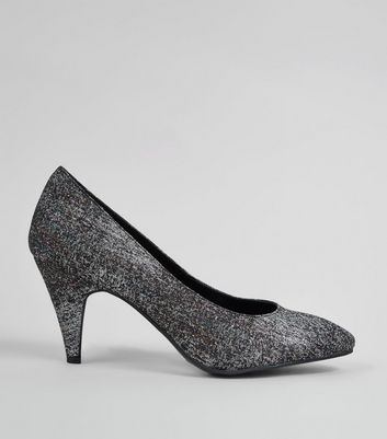 Black Glitter Pointed Heels