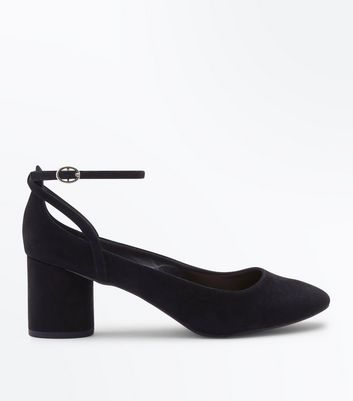 Black Suedette Low Block Heels
