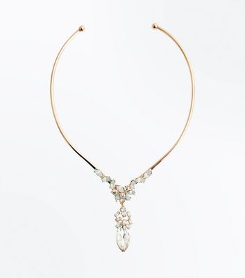 Gold Iridescent Gem Embellished Torque Necklace