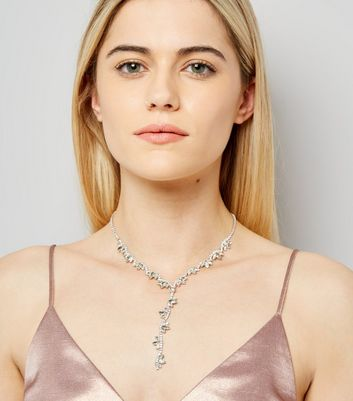 Silver Gem Stone Drop Necklace