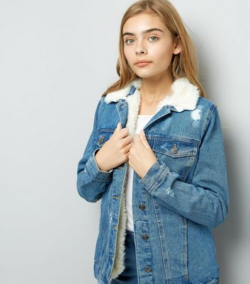 Teens Blue Borg Lined Ripped Denim Jacket