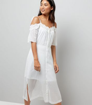 Petite White Cold Shoulder Crochet Dress