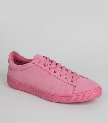 Bright Pink Suedette Coloured Sole Trainers