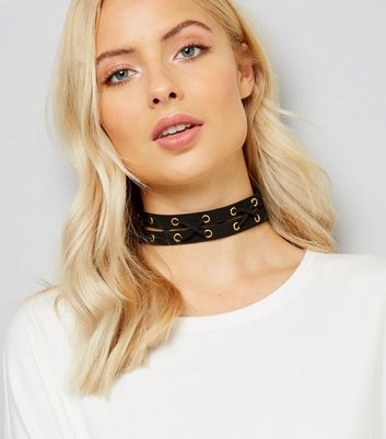Black Suedette Lattice Choker