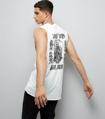 White Wasted Years Print Tank Vest