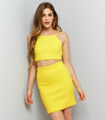 Yellow Ribbed Tube Skirt
