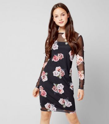 Teens Black Floral Mesh Long Sleeve Bodycon Dress