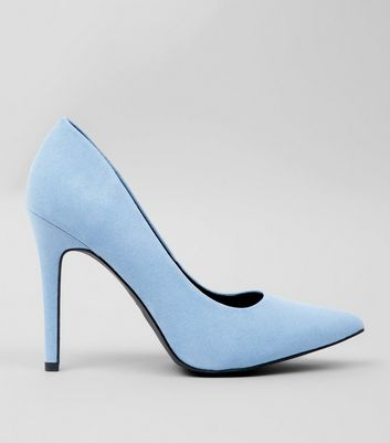 Wide Fit Pale Blue Suedette Heels