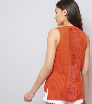 Orange Ripped Back Vest