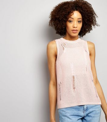 Shell Pink Ribbed Laddered Vest