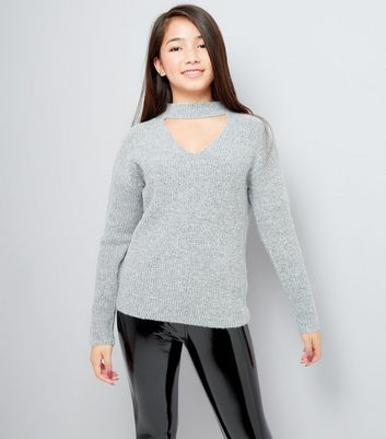 Teens Grey Choker Neck Jumper