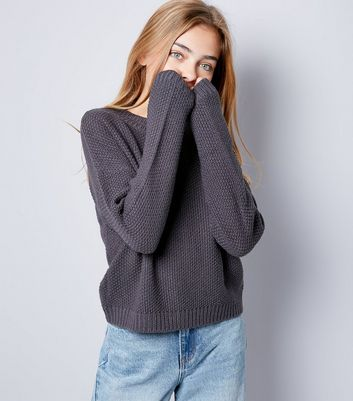 Teens Dark Grey Cut Out Neck Knit Jumper