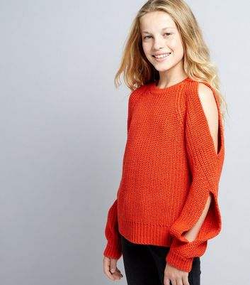 Teens Orange Cold Shoulder Jumper