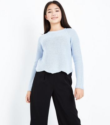 Teens Pale Blue Scallop Hem Jumper