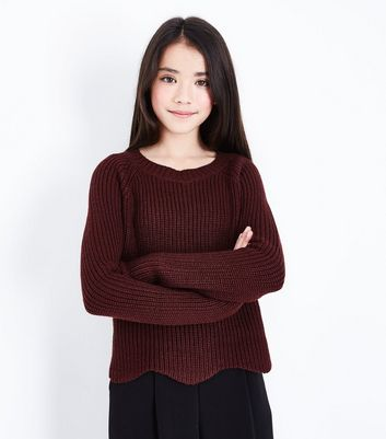 Teens Burgundy Scallop Hem Jumper